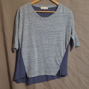 Olive and Oak color block blue tee